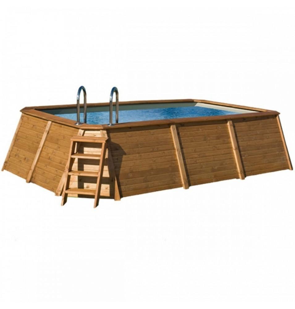 Piscina rectangular de madera panelada iv vivirenjardin - Madera para piscinas ...