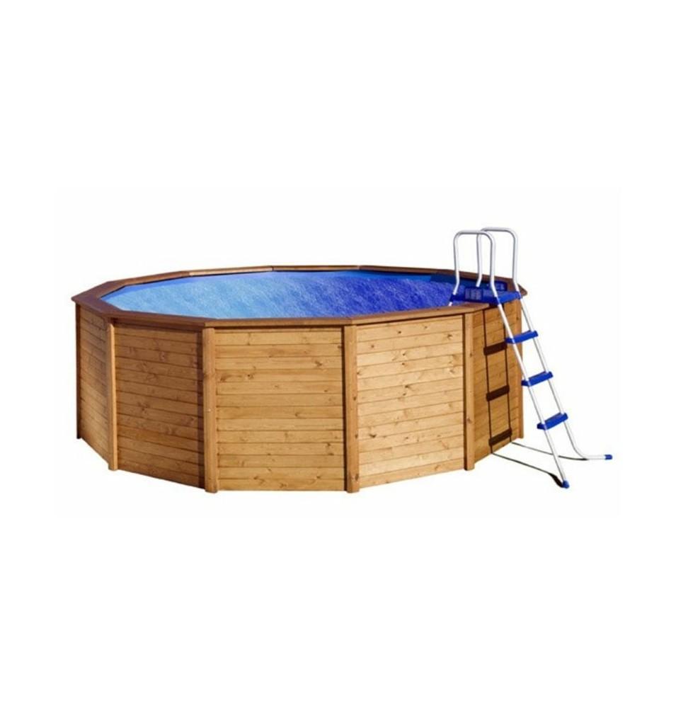 Piscina redonda de madera panelada iv vivirenjardin - Madera para piscinas ...